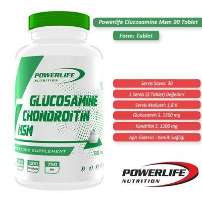 Powerlife Glucosamine Chondroitin MSM 90 tab
