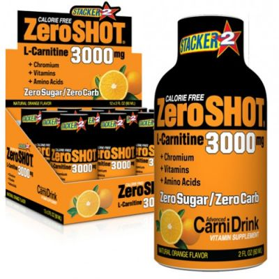 Stacker2 Zero Shot 3000 mg x12 L-Carnitine Portakal